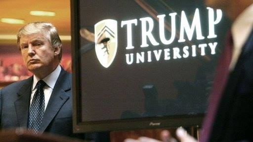 trump serious by trump university sign Barb Sutherland
